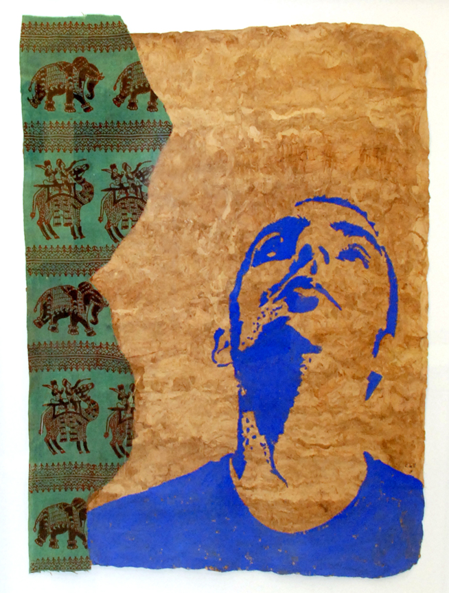 Elephant (Head), 2008, Gouache on Amate Paper, 30 x 22 inches, 72dpi